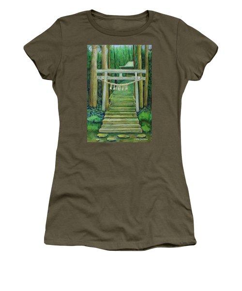 Green Stairway Women's T-Shirt (Junior Cut) by Tim Ernst