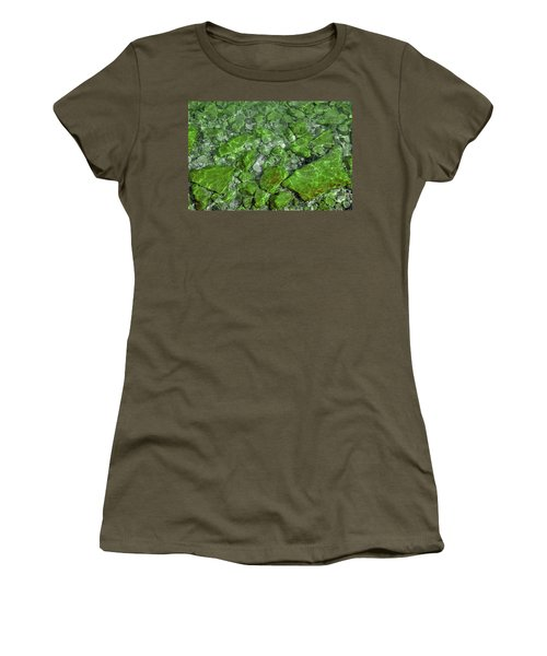 Women's T-Shirt (Junior Cut) featuring the photograph Green Stone Waters by LeeAnn McLaneGoetz McLaneGoetzStudioLLCcom