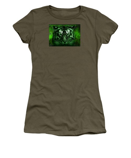 Women's T-Shirt (Junior Cut) featuring the painting Green Tiger by Michael Cleere