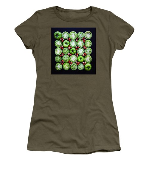 Green Tomato Slice Pattern Women's T-Shirt