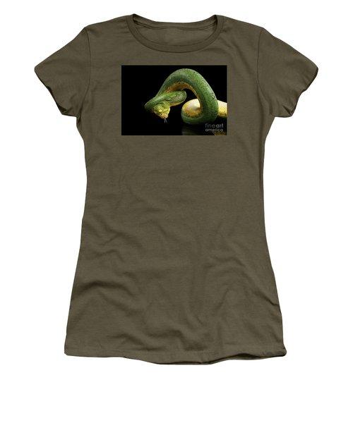 Women's T-Shirt featuring the photograph Green Tree Python. Morelia Viridis. Isolated Black Background by Sergey Taran