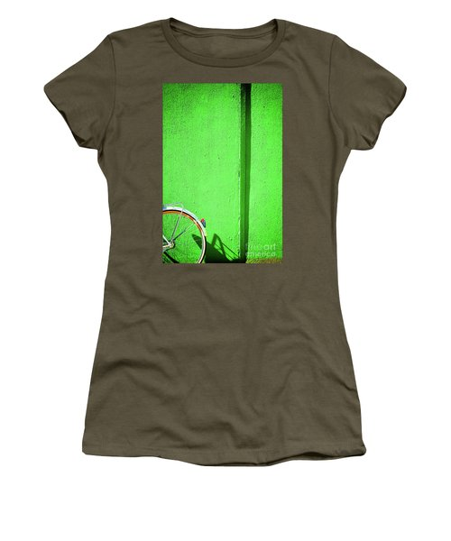 Women's T-Shirt (Athletic Fit) featuring the photograph Green Wall And Bicycle Wheel by Silvia Ganora