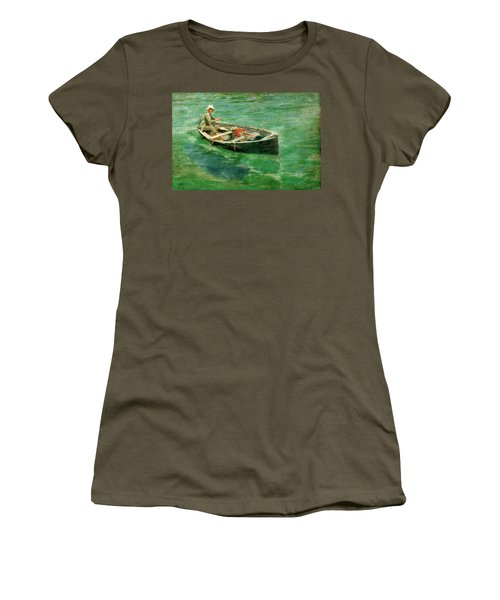 Women's T-Shirt (Junior Cut) featuring the painting Green Waters by Henry Scott Tuke