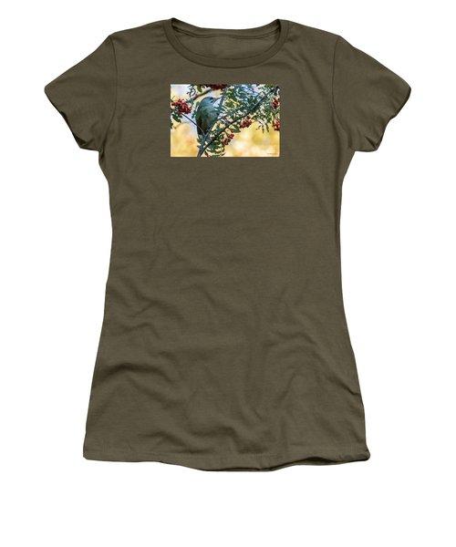 Women's T-Shirt (Junior Cut) featuring the photograph Grey Headed Woodpecker Female by Jivko Nakev