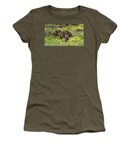 Grizzlies In The Wildflowers Women's T-Shirt (Athletic Fit)
