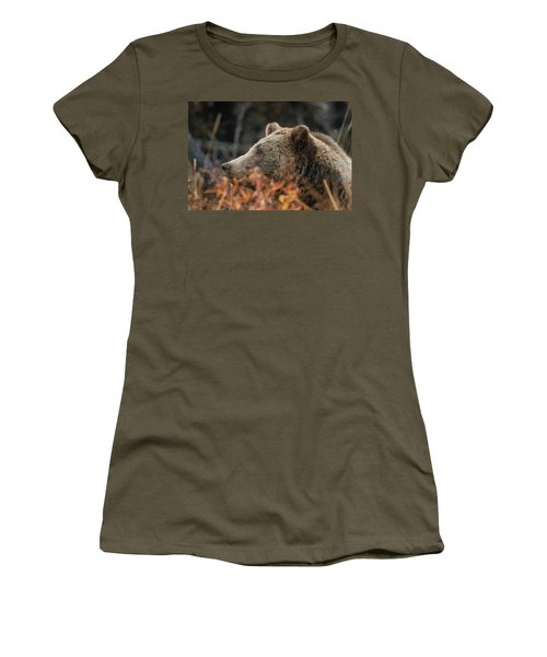 Grizzly Bear Portrait In Fall Women's T-Shirt