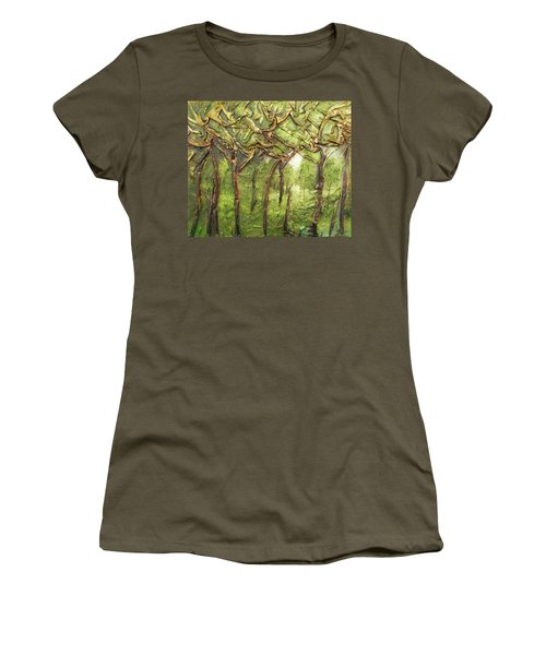 Women's T-Shirt (Junior Cut) featuring the mixed media Grove Of Trees by Angela Stout