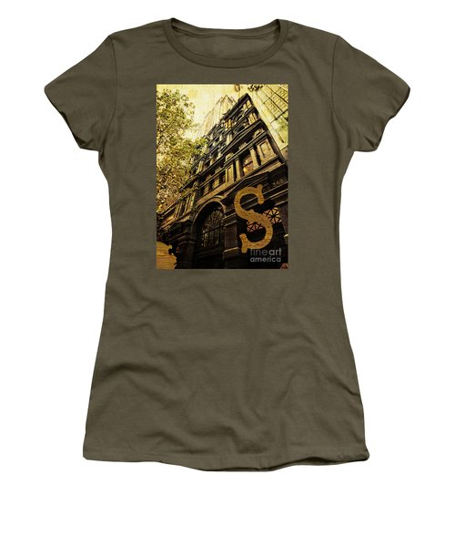 Grungy Melbourne Australia Alphabet Series Letter S Collins Stre Women's T-Shirt (Athletic Fit)