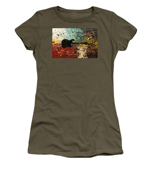 Women's T-Shirt (Junior Cut) featuring the painting Guitar Story by Carmen Guedez