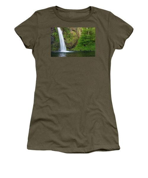 Women's T-Shirt (Junior Cut) featuring the photograph Gushing Horsetail Falls by Greg Nyquist