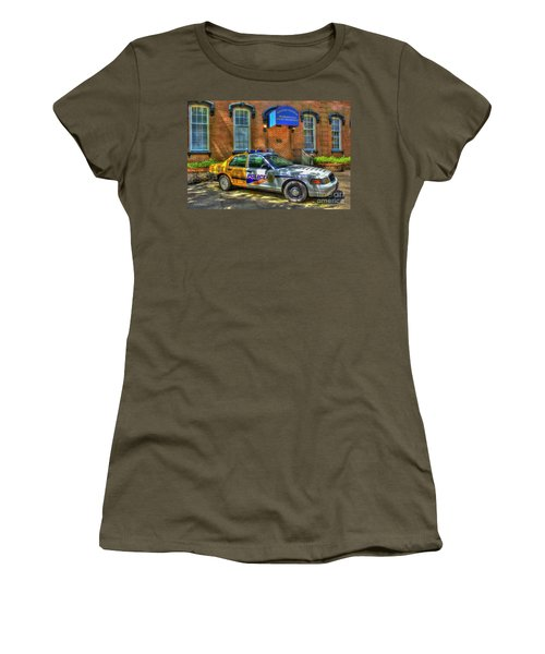 Women's T-Shirt (Junior Cut) featuring the photograph Half And Half What Is It Manna Savannah Georgia Police Art by Reid Callaway