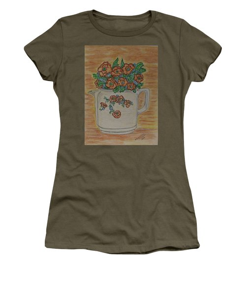 Hall China Orange Poppy And Poppies Women's T-Shirt (Junior Cut) by Kathy Marrs Chandler