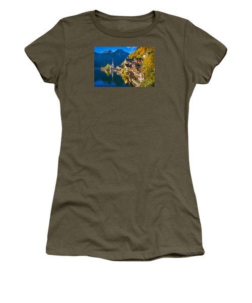 Hallstatt In Fall Women's T-Shirt (Junior Cut) by JR Photography