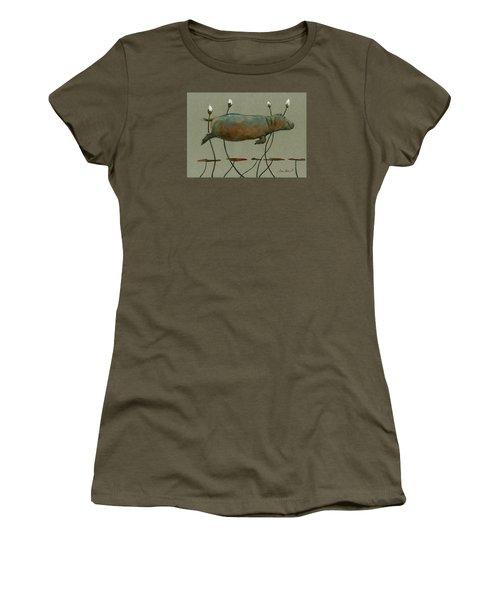 Happy Hippo Swimming Women's T-Shirt (Junior Cut) by Juan  Bosco