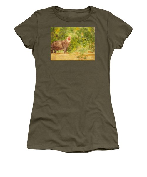 Women's T-Shirt (Junior Cut) featuring the painting Happy Hippo by Vicki  Housel