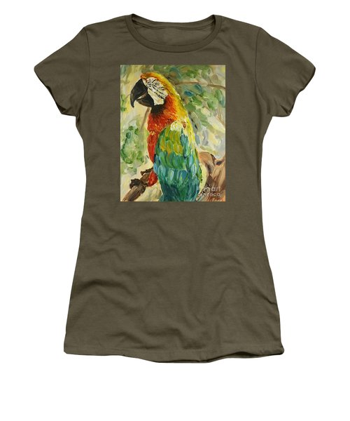 Women's T-Shirt featuring the painting Happy Parrot by Maria Langgle