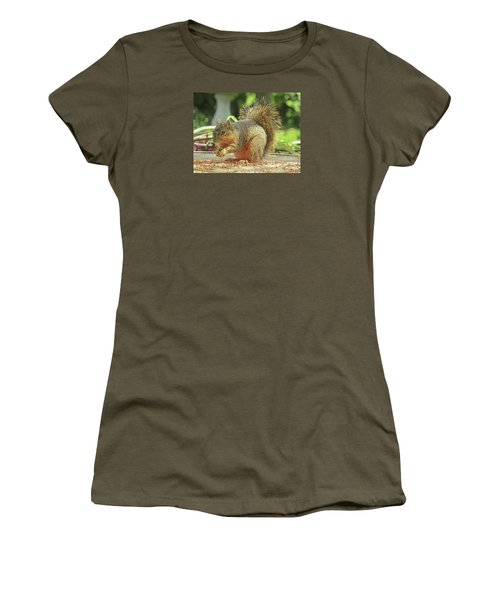 Happy Squirrel Women's T-Shirt (Junior Cut) by Fred Jinkins