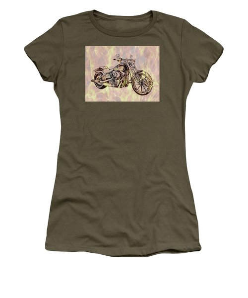 Women's T-Shirt (Junior Cut) featuring the mixed media Harley Motorcycle On Flames by Dan Sproul