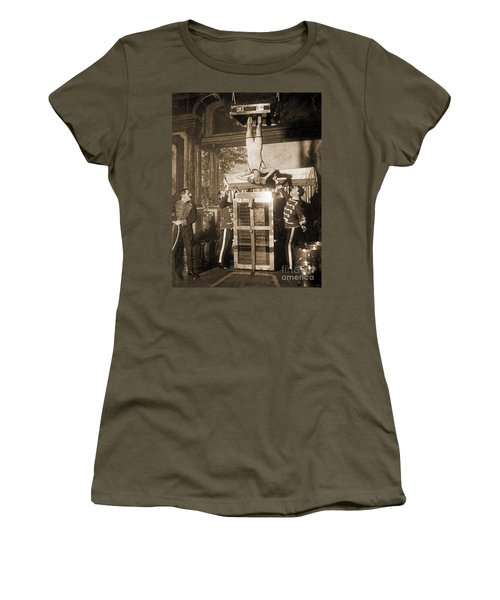 Harry Houdini Suspended Above A Tank Of Water  Women's T-Shirt