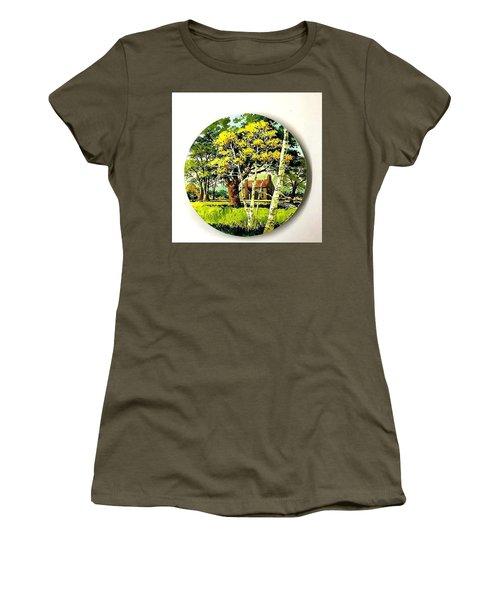 Harvest Moon Landscape Women's T-Shirt (Athletic Fit)