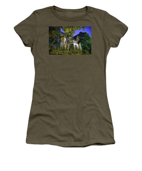 Haunted House Women's T-Shirt (Junior Cut) by Teemu Tretjakov