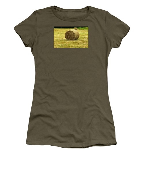 Women's T-Shirt (Junior Cut) featuring the photograph Hay Bale  by Bruce Carpenter