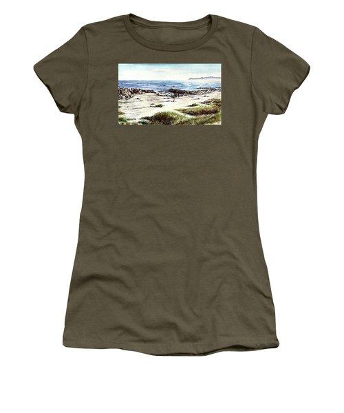 Women's T-Shirt (Junior Cut) featuring the painting Hazy Coastline by Heidi Kriel
