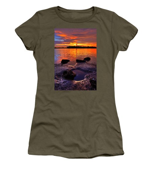 Heart Shaped Pool At Sunset Over Lake Worth Lagoon On Singer Island Florida Women's T-Shirt