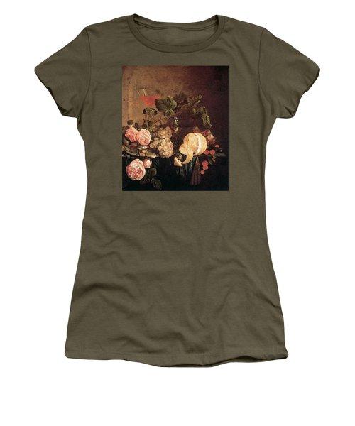 Heem Jan Davidsz De Still Life With Flowers And Fruit Women's T-Shirt (Athletic Fit)