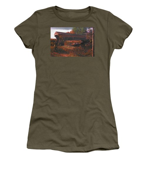 Hemlock Covered Bridge Women's T-Shirt (Athletic Fit)