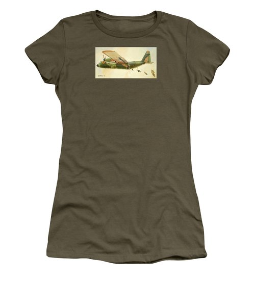 Hercules Paratroop Drop Women's T-Shirt (Junior Cut) by Paul Clinkunbroomer