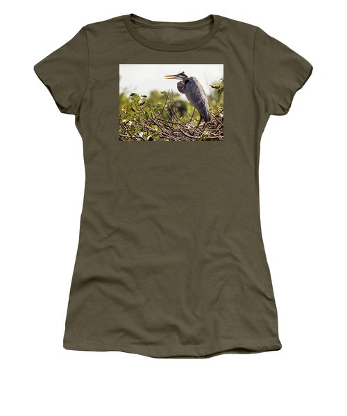 Heron In Nest Women's T-Shirt (Athletic Fit)