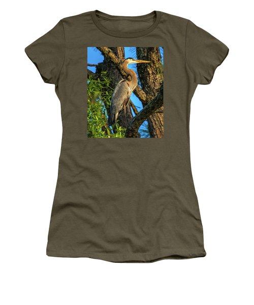 Heron In The Pine Tree Women's T-Shirt