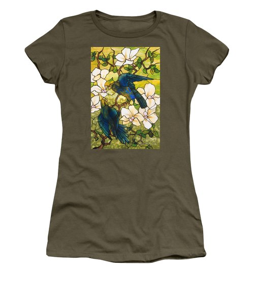 Hibiscus And Parrots Women's T-Shirt (Junior Cut) by Louis Comfort Tiffany