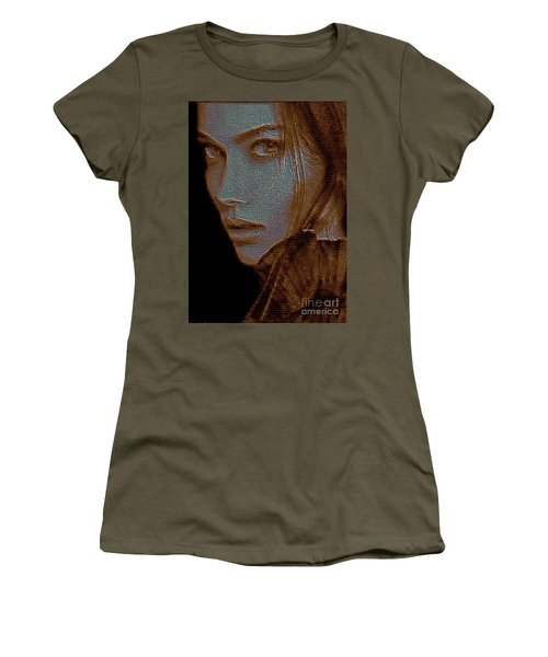 Women's T-Shirt (Athletic Fit) featuring the digital art Hidden Face In Sepia by Rafael Salazar