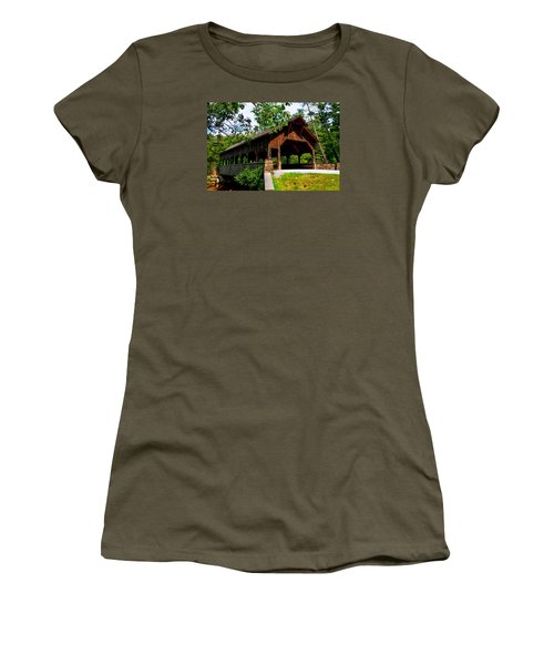 High Falls Covered Bridge Women's T-Shirt (Athletic Fit)