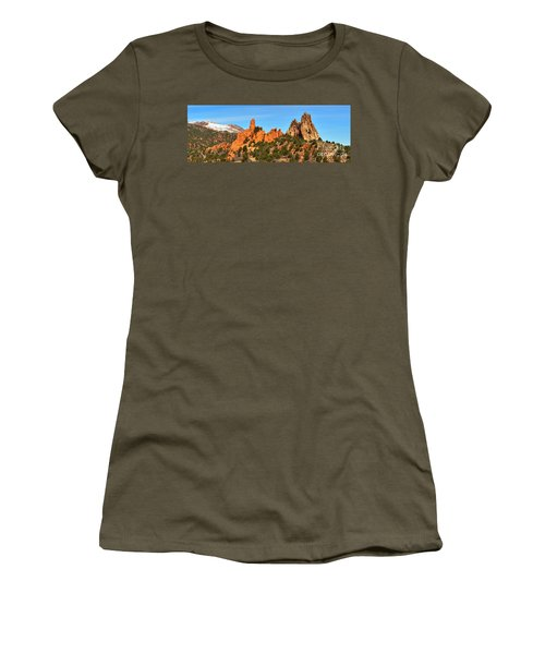 Women's T-Shirt (Junior Cut) featuring the photograph High Point Panorama At Garden Of The Gods by Adam Jewell