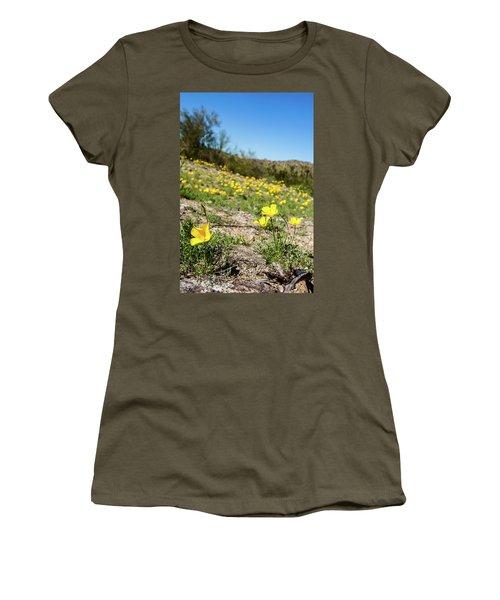 Hillside Flowers Women's T-Shirt (Junior Cut) by Ed Cilley