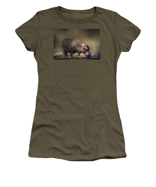 Women's T-Shirt (Junior Cut) featuring the photograph Hippo by Charuhas Images