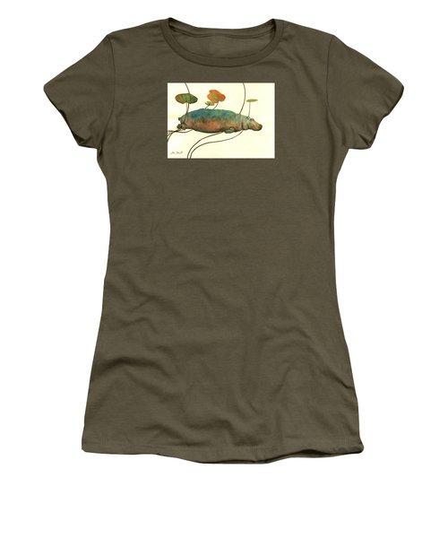 Hippo Swimming With Water Lilies Women's T-Shirt (Junior Cut) by Juan  Bosco