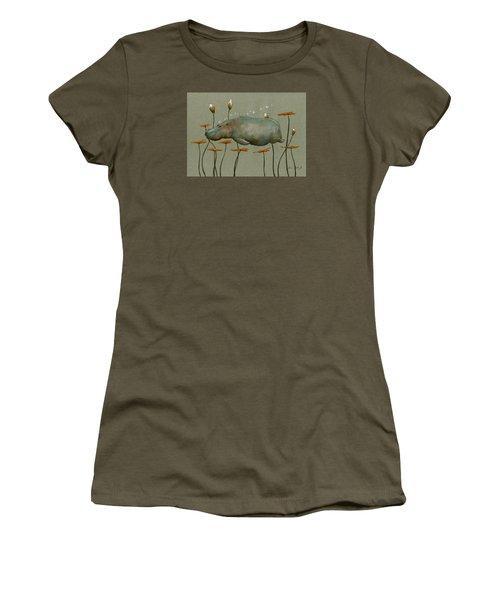 Hippo Underwater Women's T-Shirt (Junior Cut) by Juan  Bosco