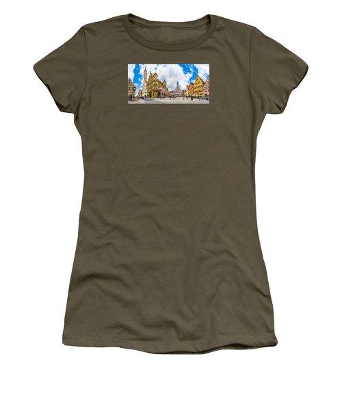 Historic Townsquare Of Rothenburg Ob Der Tauber, Franconia, Bava Women's T-Shirt (Junior Cut) by JR Photography