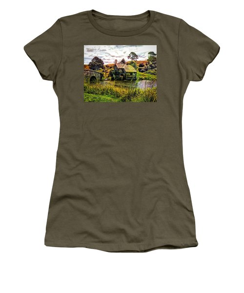 Women's T-Shirt (Junior Cut) featuring the photograph Hobbiton Mill And Bridge by Kathy Kelly