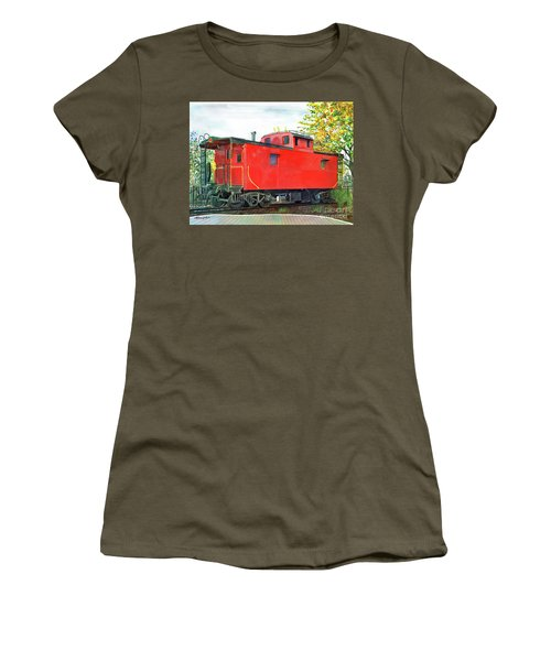 Holland Michigan Caboose Women's T-Shirt (Junior Cut) by LeAnne Sowa