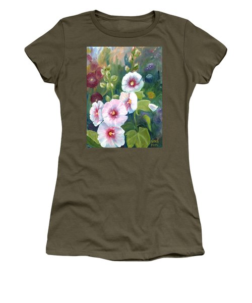 Women's T-Shirt (Junior Cut) featuring the painting Hollyhocks by Renate Nadi Wesley