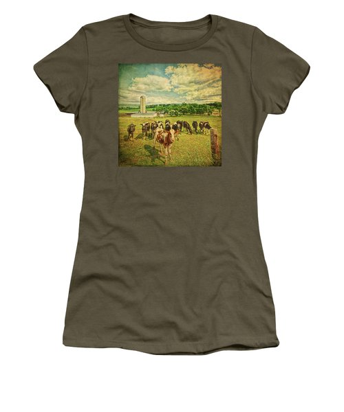 Women's T-Shirt (Athletic Fit) featuring the photograph Holy Cows by Lewis Mann
