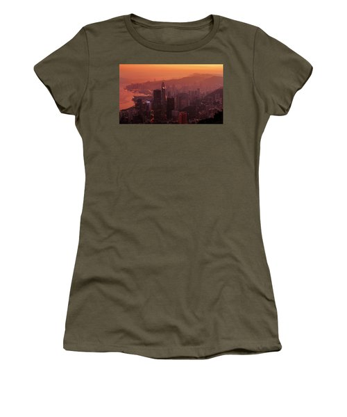 Women's T-Shirt featuring the photograph Hong Kong City View From Victoria Peak by Pradeep Raja Prints