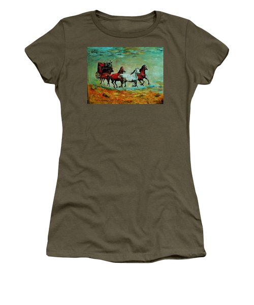 Horse Chariot Women's T-Shirt (Junior Cut) by Khalid Saeed