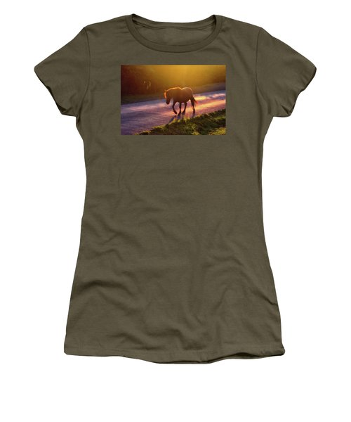 Horse Crossing The Road At Sunset Women's T-Shirt