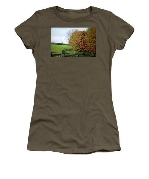 Horse Farm Country In The Fall Women's T-Shirt (Junior Cut) by Sumoflam Photography